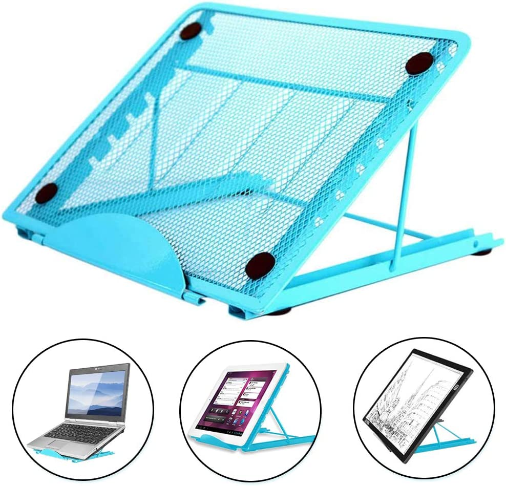Metal Mesh Laptop Tablet Stand, Foldable Portable Ventilated Desktop Laptop Holder, Desktop Document Book Holder, Blue