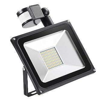 50W Projecteur Led Exterieur Detecteur de Mouvement, Luminaires Éclairage  extérieur et Intérieur IP65 étanche, Lampe Led Spot pour Jardin, Cour, ...