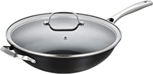EPPMO 12 Inch Hard-Anodized Aluminum Wok with lid, Nonstick Stir Fry Pan, Stainless Steel Handle, Dishwasher & Oven Safe