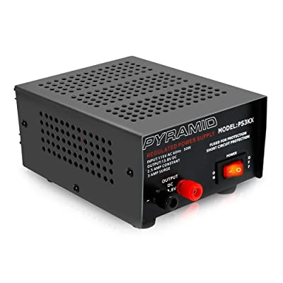 Universal Compact Bench Power Supply - 2.5 Amp Linear Regulated Home Lab Benchtop AC-to-DC 12V Converter w/ 13.8 Volt DC 115V AC 50 Watt Power Input, Screw Type Terminals, Cooling Fan - Pyramid PS3KX: Car Electronics
