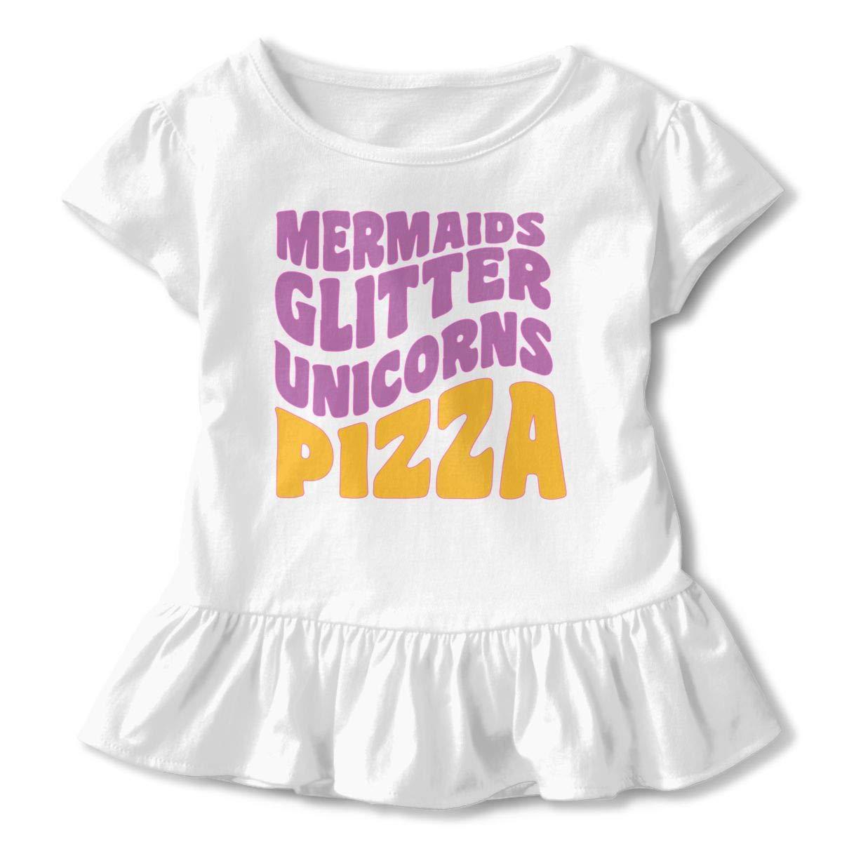 Funny Mermaids Baby Girls Crew Neck Tshirts Top/&Tee