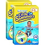 Huggies Little Swimmers Nappies - Size 2-3, 2 x Packs of 12 (24 Nappies) by Huggies