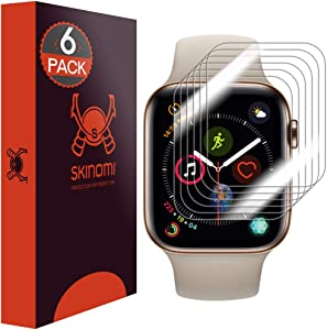 Skinomi TechSkin [6-Pack] (Slim Design) Clear Screen Protector for Apple Watch Series 4 (44mm) Anti-Bubble HD TPU Film