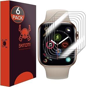 Skinomi TechSkin [6-Pack] (Slim Design) Clear Screen Protector for Apple Watch Series 4 (44mm) Anti-Bubble HD TPU Film
