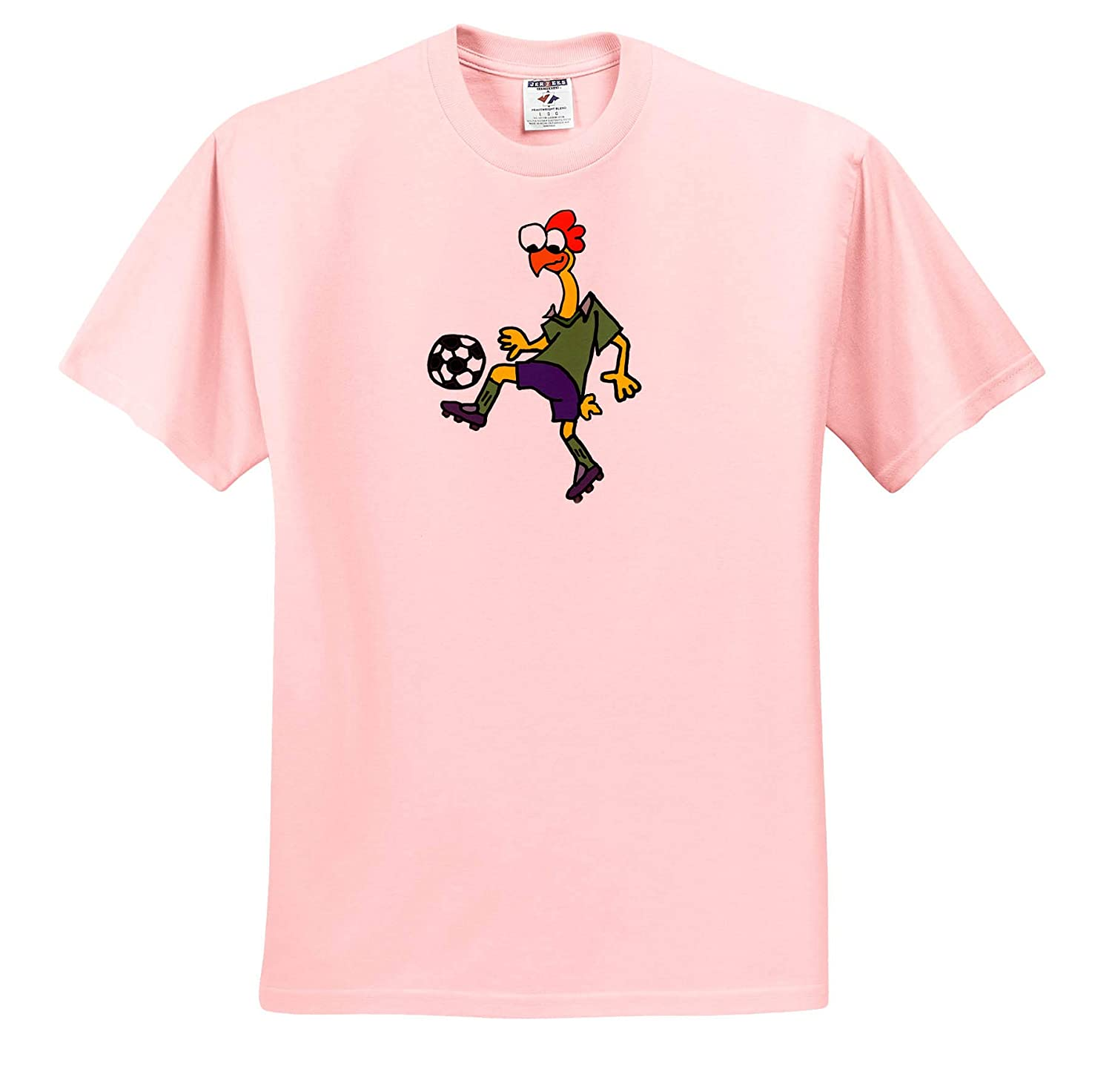Animals T-Shirts Cute Funny Rubber Chicken Playing Soccer Action Cartoon 3dRose All Smiles Art