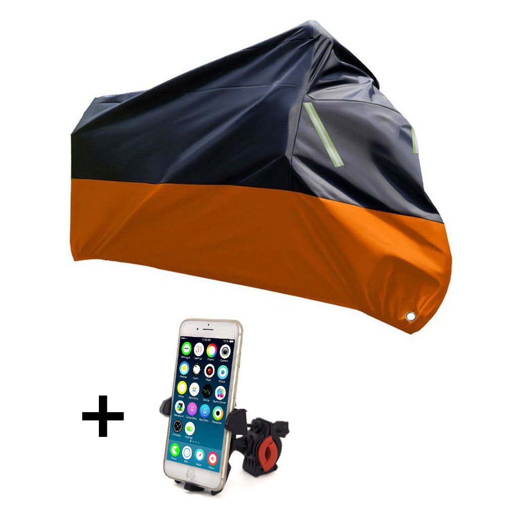 Racol Waterproof Motorcycle Covers with Bike Phone Mount,210D Oxford Durable and Tear Proof for 104 Inch XXL Motorcycles Harley Davidson Yamaha Honda with Mobile Phone Holder for Motorcycle Bike