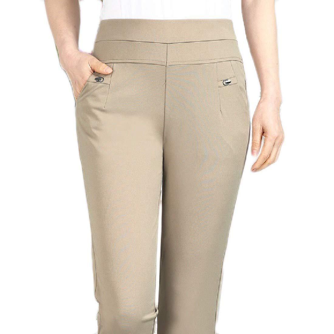 Abetteric Women's Hi-Waist Leisure Solid Color Plus Size Jegging Pants