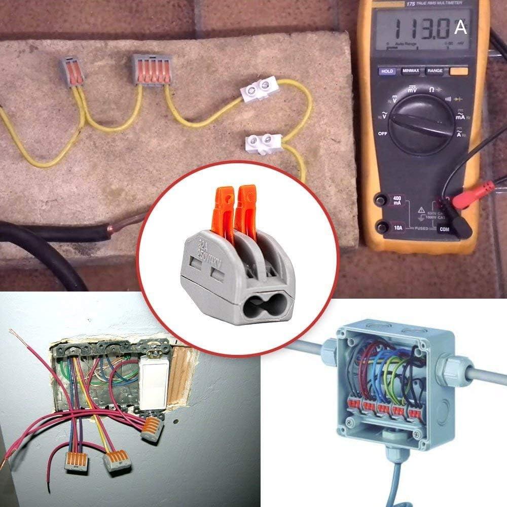 Morsettiera Connettore Molla 60Pcs Compact Connettore Morsettiera Cavo Connettore Rapido 2 Porte 3 Porte 5 Porte Leva-Dado Cavo Connettore Set Conduttore Compatto Connettore