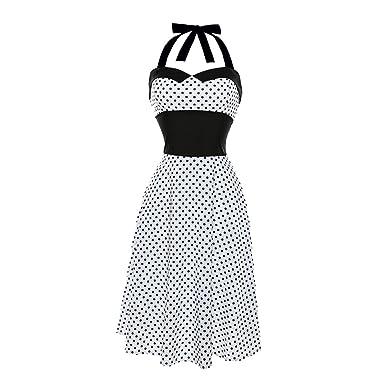 cae735c795f4 UNYU Rockabilly Kleider Damen, Rockabilly Kleid 50er Polka Dots ...
