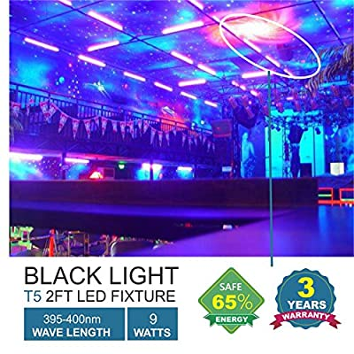 Barrina UV LED BlackLight bar 9w 2ft T5 Integrated Bulb Black Light Fixture For Blacklight Poster and Party Fun Atmosphere with Built-in ON/OFF Switch (4-pack)