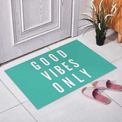 CHARMHOME Funny Saying Quotes Good Vibes Only Doormats Entrance Mat Floor Mat Door Mat Rug Indoor Front Door Bathroom Mats Rubber Non Slip 23.6 x15.7 ,L X W