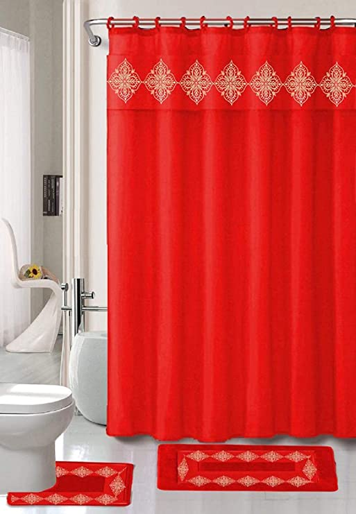 PEVA Shower Curtain /& Chenille Bath Mat Set Matching Bathroom