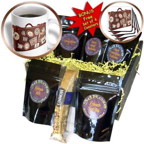 cgb_37264_1 Florene Vintage - Brown Suitcase Of Memories - Coffee Gift Baskets - Coffee Gift Basket
