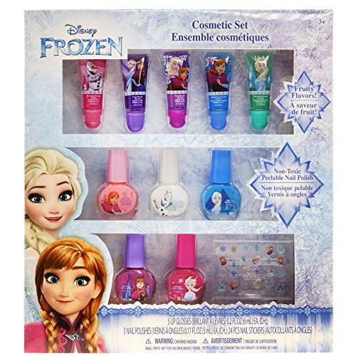 Townley Girl Disney Themed Super Sparkly Cosmetic Set with Lip Gloss, Nail Polish and Nail Stickers (Frozen) ()