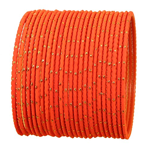 Touchstone NEW Colorful Bangle Collection Indian Bollywood Exclusive Golden Glaze Orange Color Designer Jewelry Special Large Size Bangle Bracelets. Set of 24 For Women.