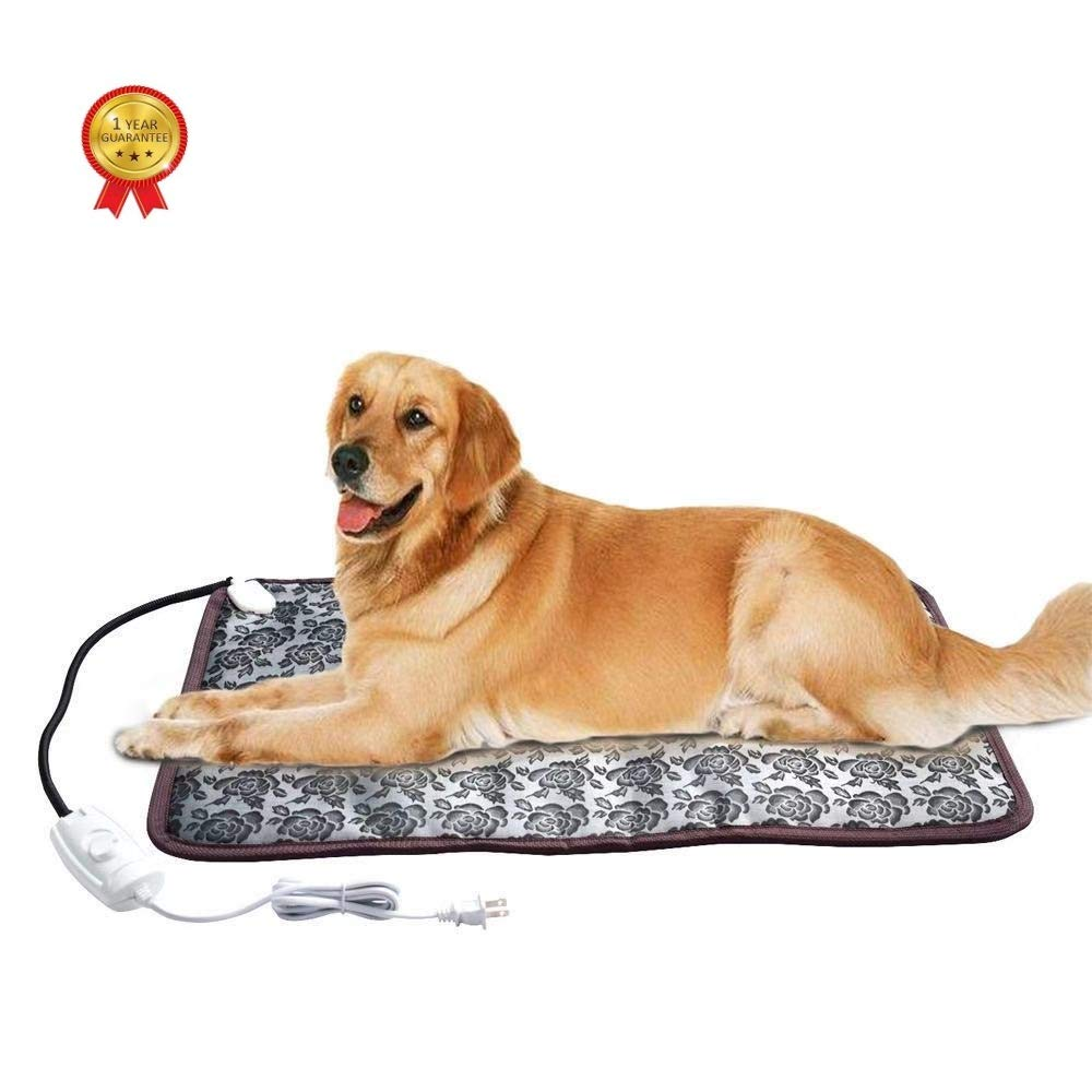 """XXL Pet Heating Pad for Large Dog House Heater Outdoor, Electric Adjustable Warming Mat with Chew Resistant Cord Waterproof Heated Cat Bed Outside or Home, Easy to Clean and Safe (33"""" x 21"""")"""