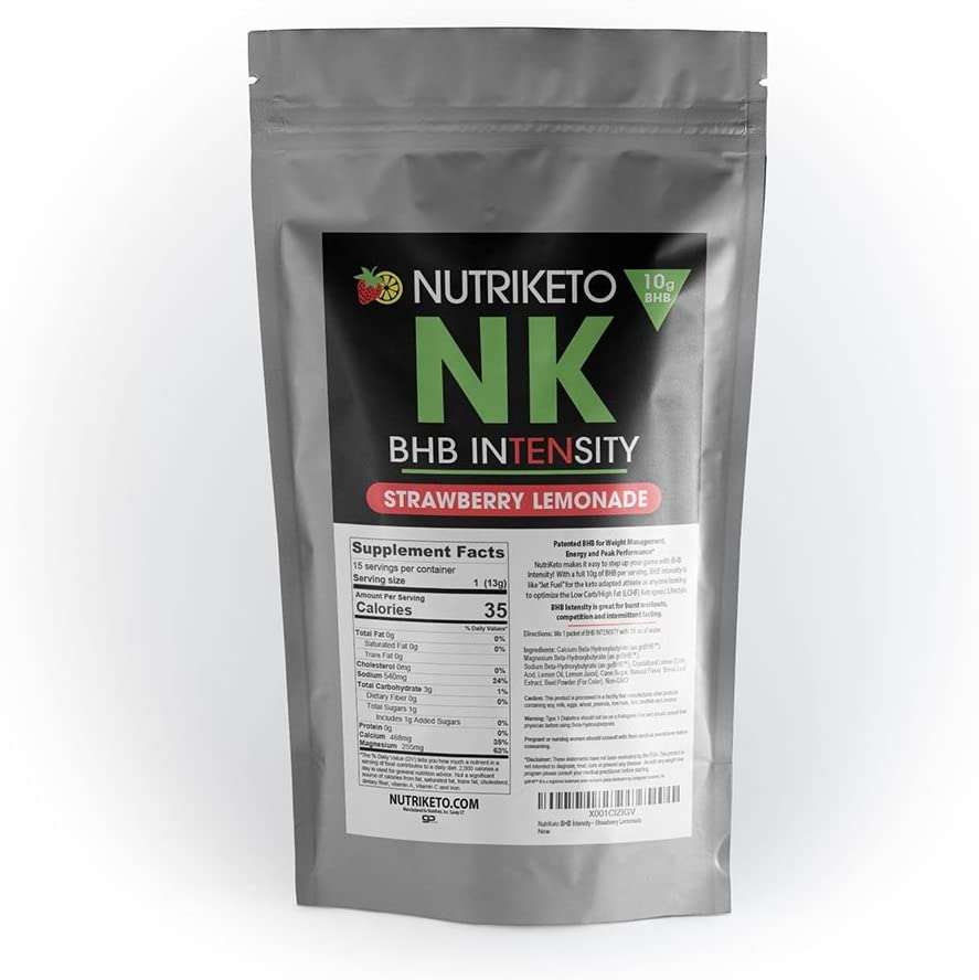 NutriKeto BHB Intensity – Strawberry Lemonade – 10g BHB per Serving – Ketogenic Diet – Exogenous Ketones – Caffeine Free
