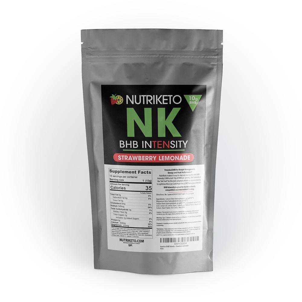 NutriKeto BHB Intensity - Strawberry Lemonade - 10g BHB per Serving - Ketogenic Diet - Exogenous Ketones - Caffeine Free by NutriKeto