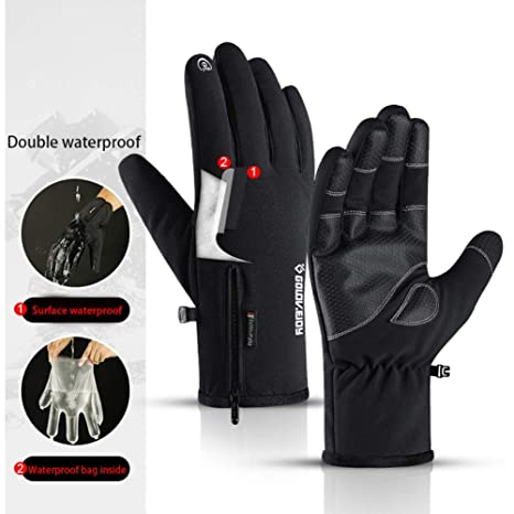 Men Women Winter Touch Screen Thicken Riding Windproof Waterproof Warm Gloves
