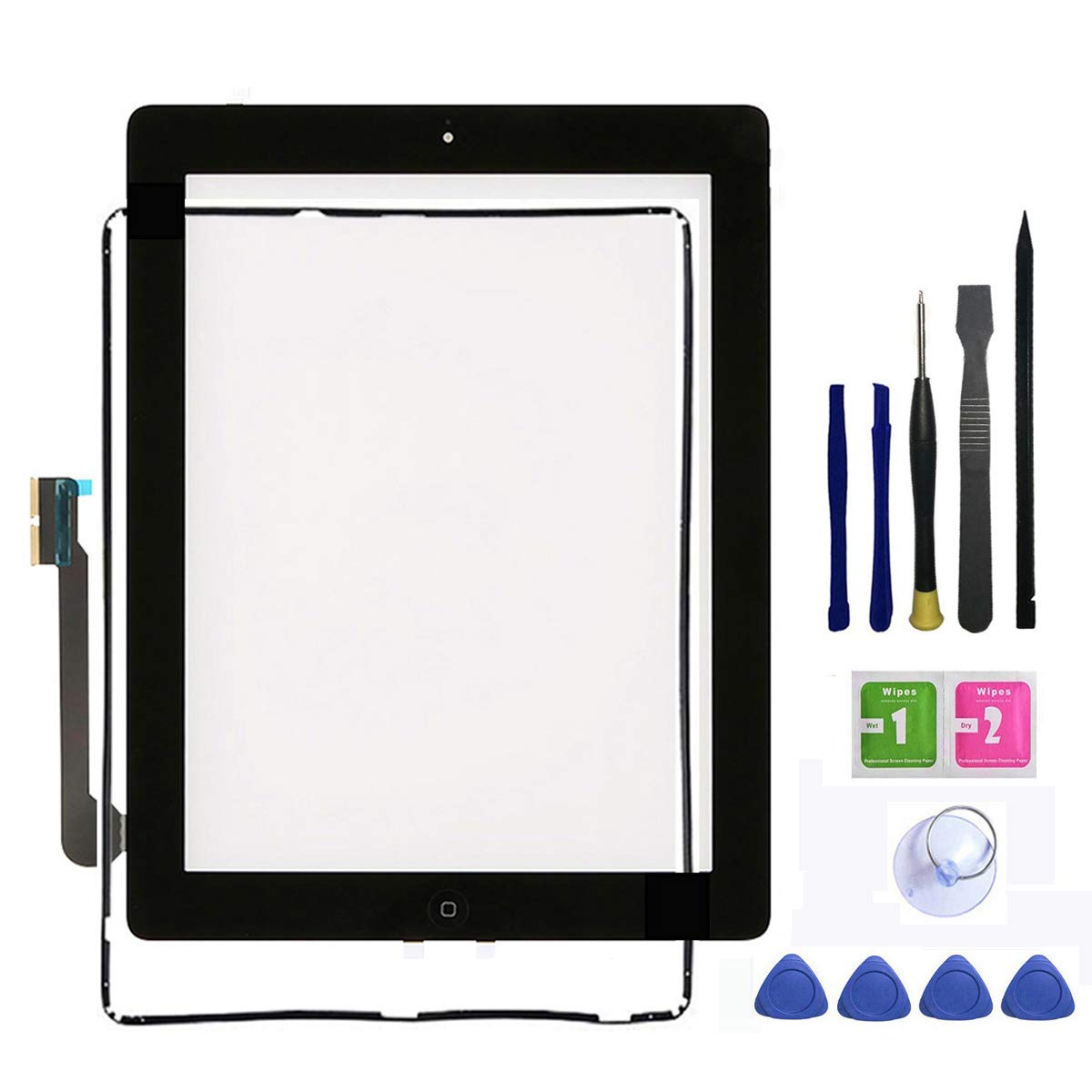 Ipad 3 Touch Screen Replacement,FeiyueTech New Black Digitize Screen Front Glass Assembly - Includes Home Button + Camera Holder +Frame Bezel+ PreInstalled Adhesive with Tools kit. (black)