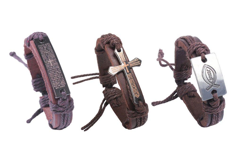 3 Packs Adjustable Leather Chain Charms Bracelet Christian Religious Bible Verse Wristband Handmade Gospel Scripture Bangle Unisex Size for Teens Adult Men Women (B) by Shock