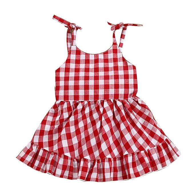 Vestido Para Bebé NiñAs DRESS Start® Vestido Linda ImpresióN De Cuadros Sin  Respaldo Vestido Con 699fb3e22daa