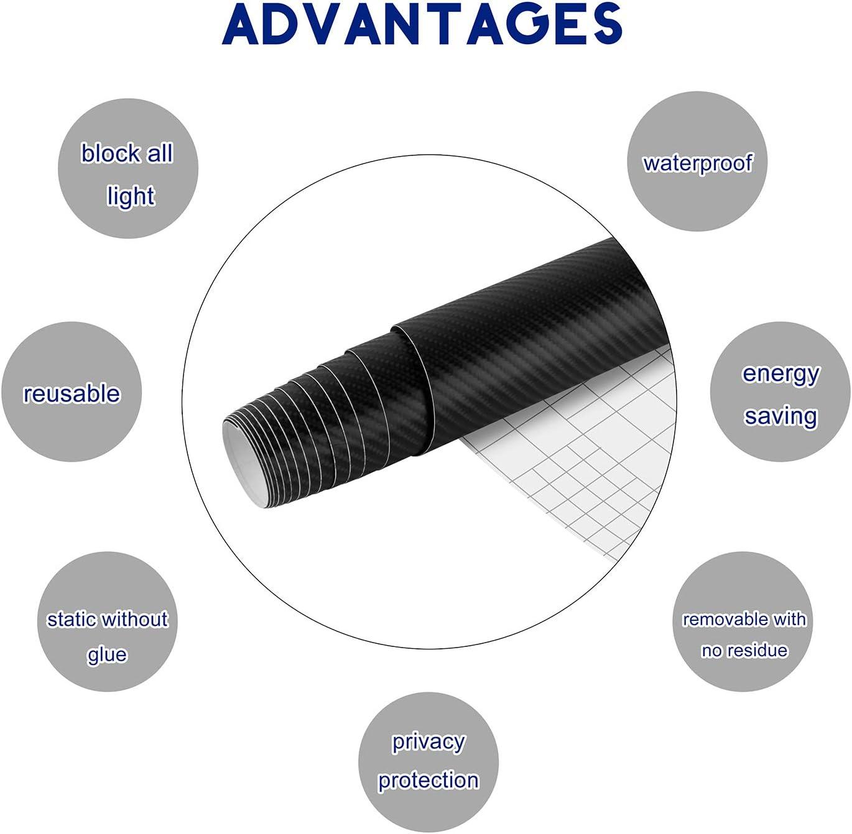 YAOBLUESEA 4D Pegatinas Carbono Vinilo de Fibra de Carbono Envoltura Adhesiva para Coche 100x152cm Negro