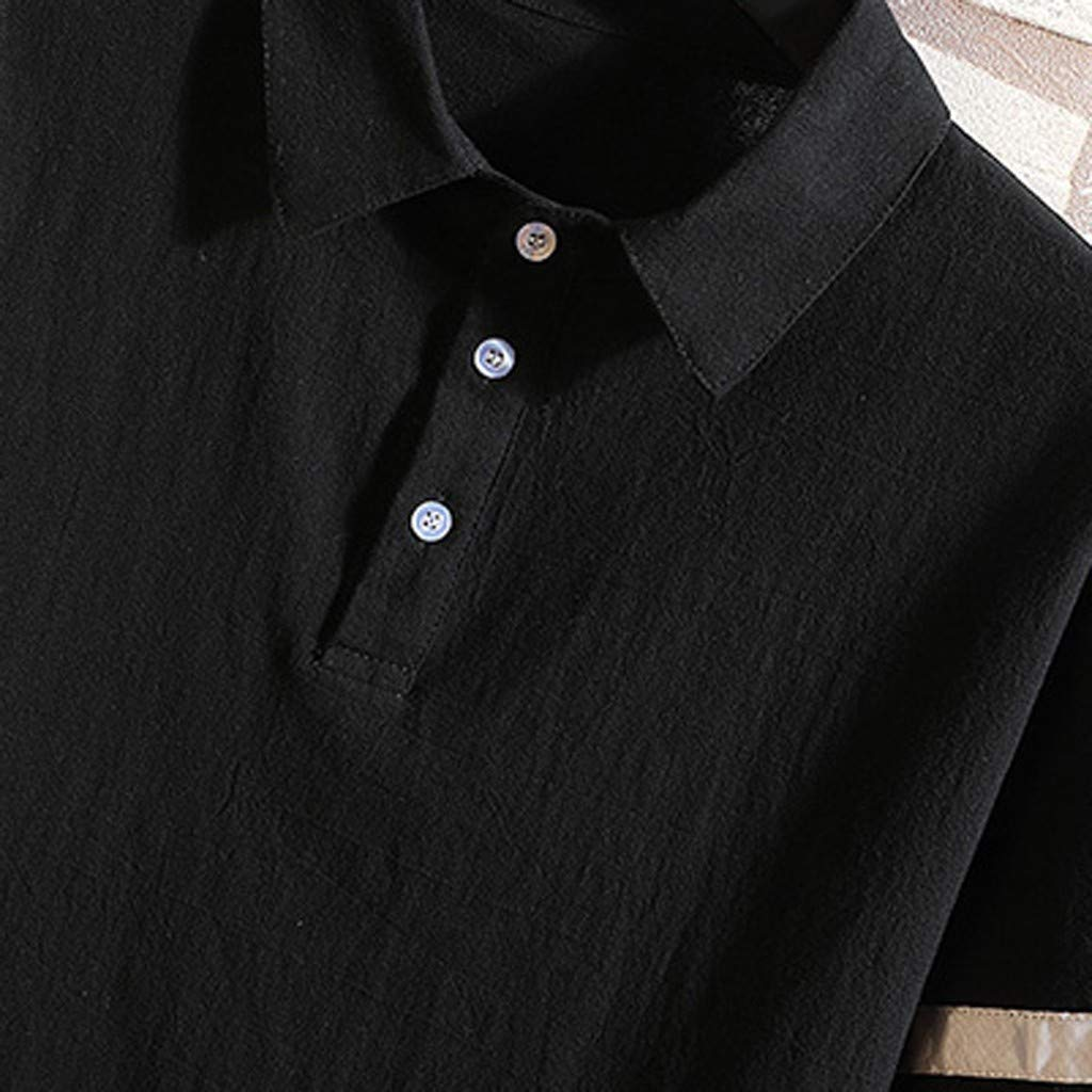 MODOQO Short Sleeve Top for Men-Summer Casual Cotton Solid Color Loose Fit Lapel Tees