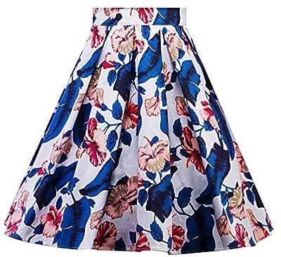 Womens Vintage Floral Print Pleated Flared A-Line Midi Skirts C64