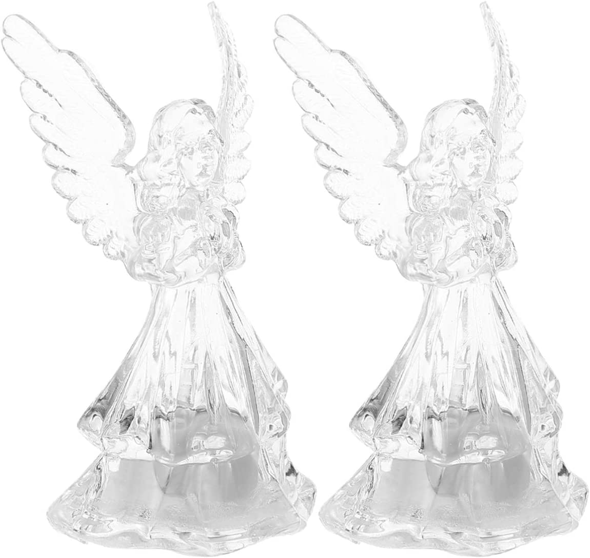 TomaiBaby 2pcs Acrylic Angel Led Lighted Sparkling Figurines Prayer Angel Statues Home Decorative Decor Figurine Angels Statue Xmas Ornaments Decorations