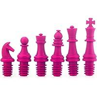 Hemore Categoría alimenticia de Silicona de ajedrez de Vino Tinto tapón Conjunto 6 Paquete El Regalo Ideal para los Padres,niños,Amantes,Mujeres