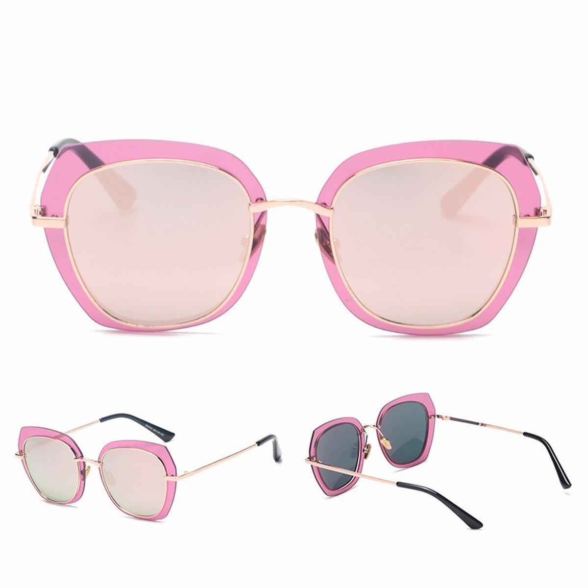 2 Transparente Grenze Farbe Linse Hit Farbe Sonnenbrille Platz Unisex Go Show Sonnenbrille Runde Gesicht Goldrahmen Grau Graue Platte CKx8L