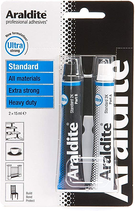 Araldite Ultra Clear Epoxy Adhesive Dries Crystal Clear Holds Up to 130Kg Ideal