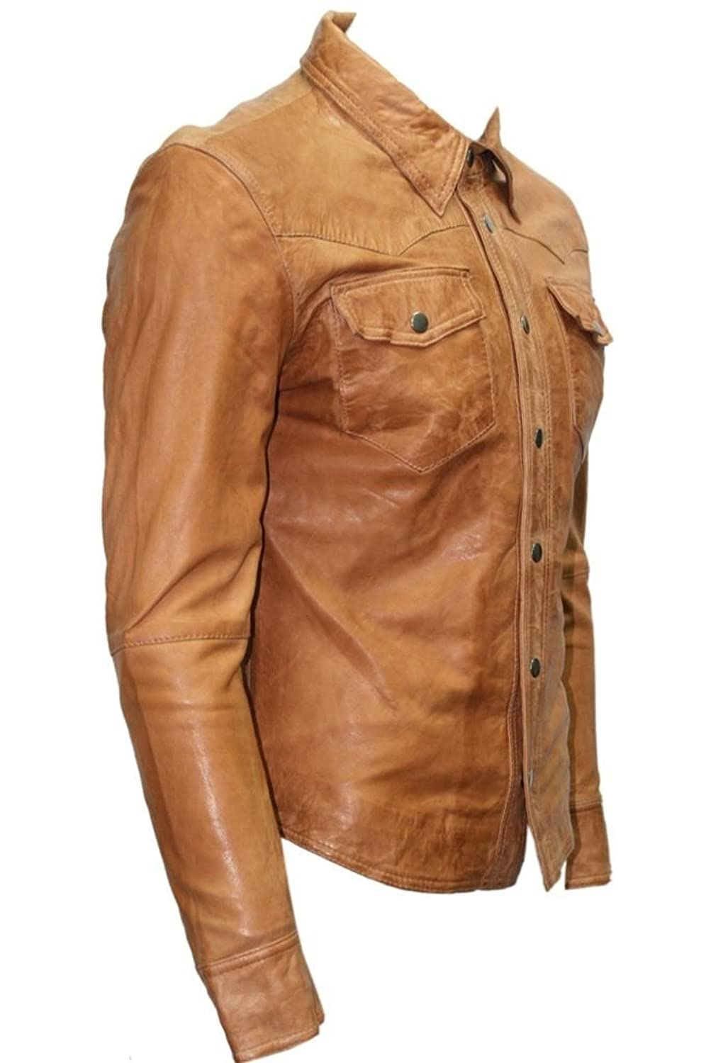 Man Party M141 Tan Waxed Veg Real Leather Shirting Jacket