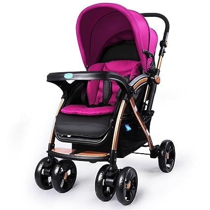 Qiangzi Carrito bebé Niño Baby Trolley luz paraguas coche de cuatro ruedas se pliegan puede sentarse