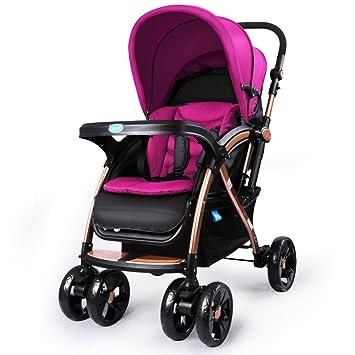 Qiangzi Carrito bebé Niño Baby Trolley luz paraguas coche de cuatro ruedas se pliegan puede sentarse los carros de los niños Cochecito de bebé plegable para ...