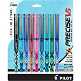 Pilot Precise V5 Deco Collection Rolling Ball Pens, Capped, Extra Fine Point (.5mm), 9-Pack, Assorted (38811), Black/Blue/Red/Green/2 Purple/2 Turquoise, Patented Precision Point, Skip-Free Writing