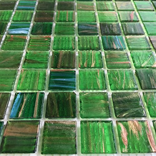 Emerald Green Iridescent Glass Backsplash Mesh-Mounted 3/4 x 3/4