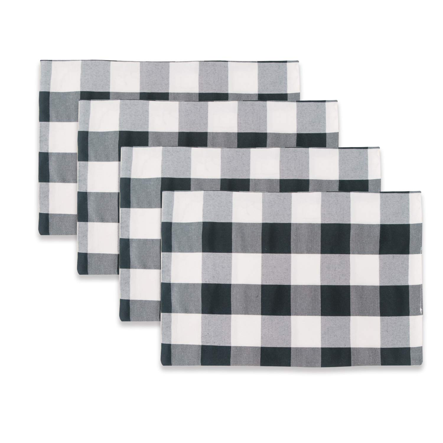 NATUS WEAVER Black & White 2 Side Buffalo Check Placemats Set of 4 Heat Resistant Dining Table Place Mats for Kitchen Table, 12 x 18 inches