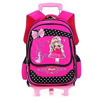 Niños mochilas escolares los niños dibujos animados Mochilas Carro con ruedas Sweet Niñas resistente al agua carga reducción bolsas de viaje bolsas: ...