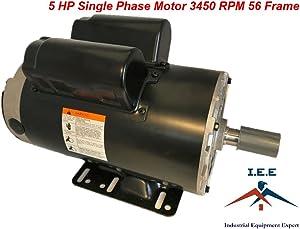 "5 HP 3450 RPM 56 Frame 230V 22Amp 7/8"" Shaft Single Phase NEMA Compressor Motor"