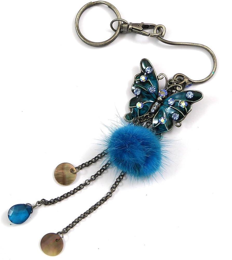 bleu Accessoires de mode Porte clef//bijou de sac papillon /émaill/é et pendant pompom rougecaramel