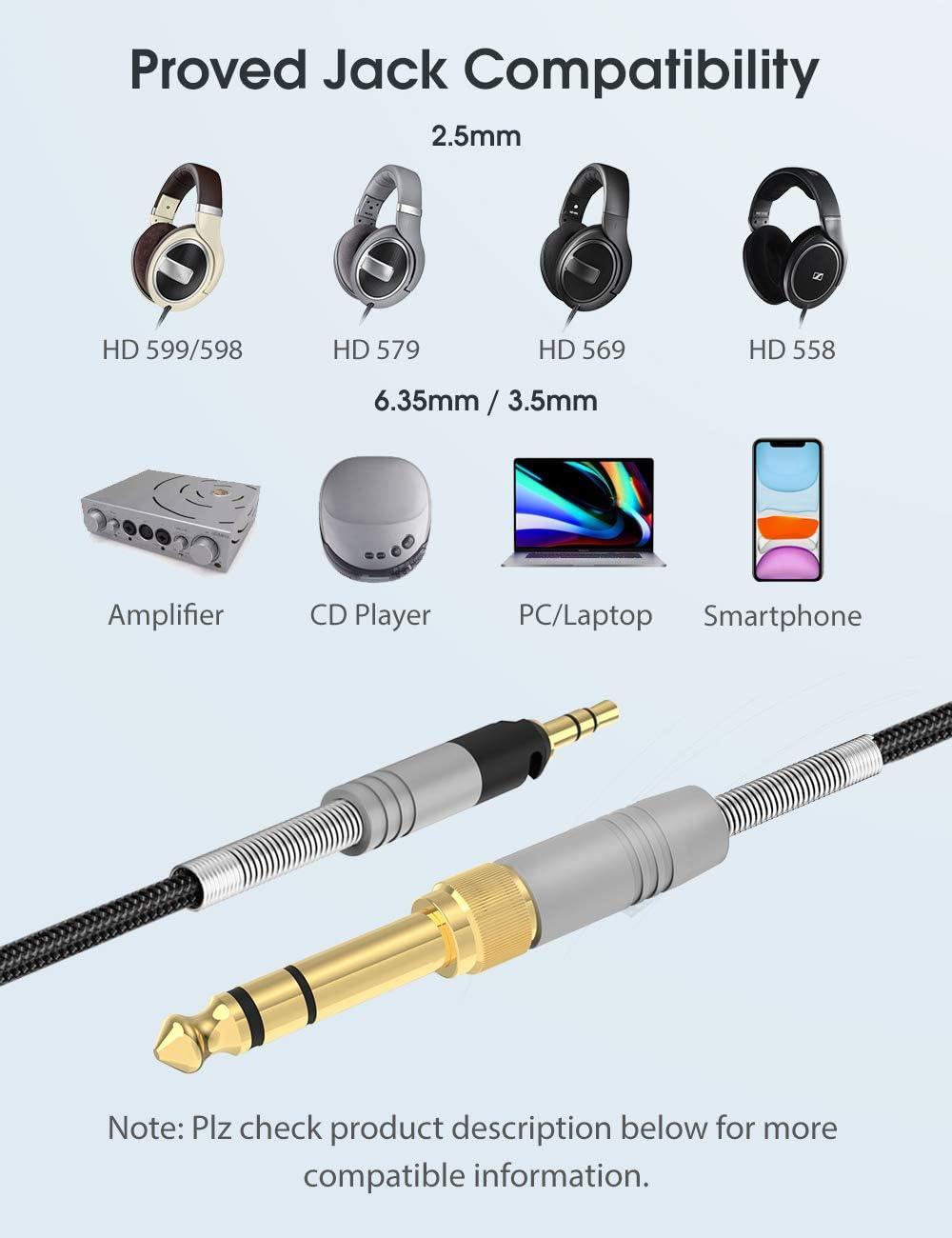 Mr Rex 2,5mm auf 3,5mm Kopfh/örer Ersatz-Audiokabel Klinkenkabel Kompatibel mit Bose 700 QuietComfort QC35 QC25 Kopfh/örer JBL E45BT E55BT E65BTNC /& AKG Y55 Y50 Y45BT Kopfh/örer 1.5m // 5ft, Schwarz