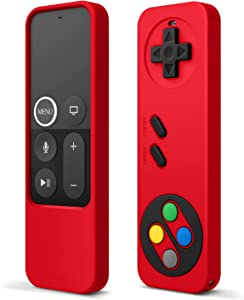 elago R4 Retro Apple TV Remote Case Compatible with Apple TV Siri Remote 4K 5th / 4th Generation - Classic Controller Design [Non-Functional], Lanyard Included [US Patent Registered] (Red)