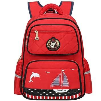 Uniuooi Primary School Backpack Book Bag for Kids Boys Girls Red Waterproof  Nylon Schoolbag Children Travel Rucksack (Red + Black)  Amazon.co.uk   Luggage ad8a81673b