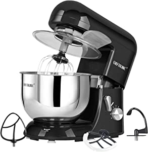 CHEFTRONIC SM986-Black Stand Tilt-head Kitchen Electric Dough Mixer for Household Aids 120V/650W 5.5qt Stainless Steel Bowl, Large