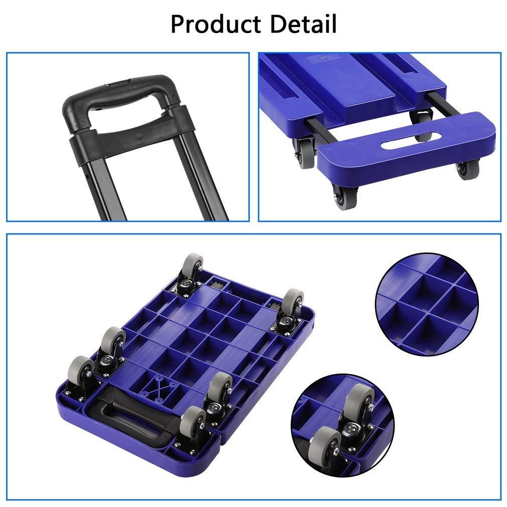 Graspwind Hand Truck Folding Luggage Cart 3-fold Handle 360°Rotate 6 Wheels and Free Rope Travel Trolley 440lbs (Blue) by Graspwind (Image #7)