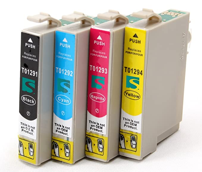 4x Compatible tinta cartuchos reemplazo for EPSON T1295 (1x negro ...