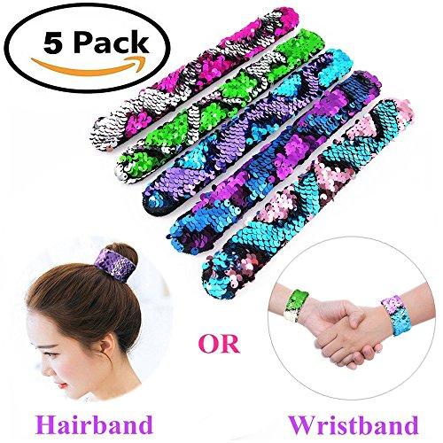 - Mermaid Slap Bracelet 5 Pack for Birthday Party Favors Christmas Gifts, Two-color Decorative Reversible Charm Sequins Flip Wristband Bracelet for Kids,Girls,Boys,Women
