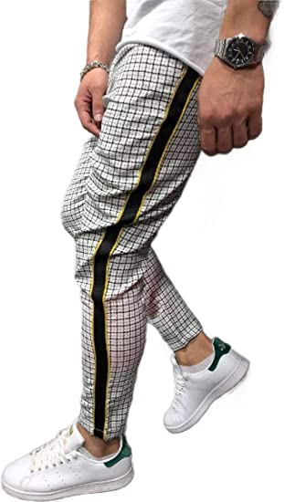 VITryst Men's Patchwork Mid Waist Trousers Skinny Fit Stretch Plaid Pull-on Pants